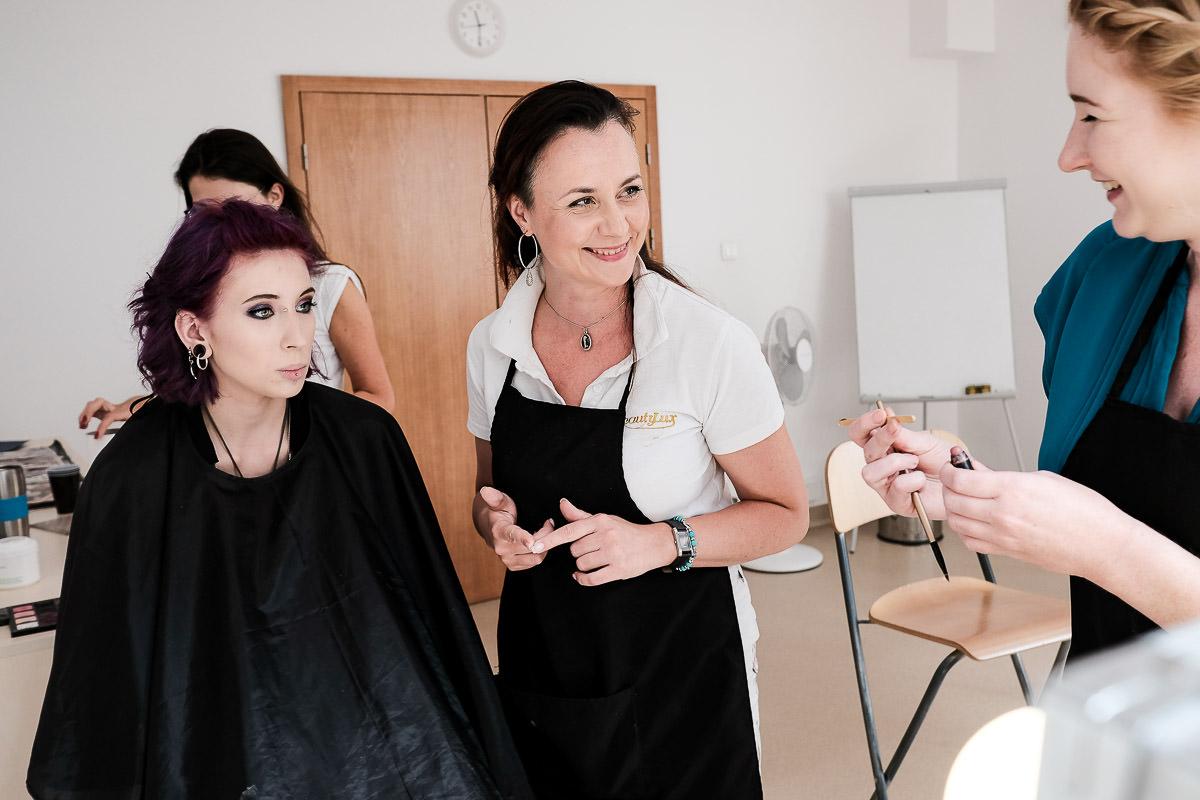 girls enjoing make up session