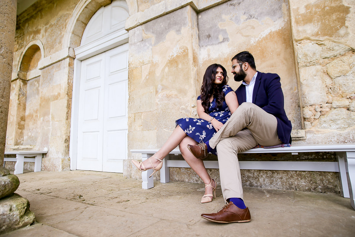 Couple at the bench at the Stowe Park engagement shoot