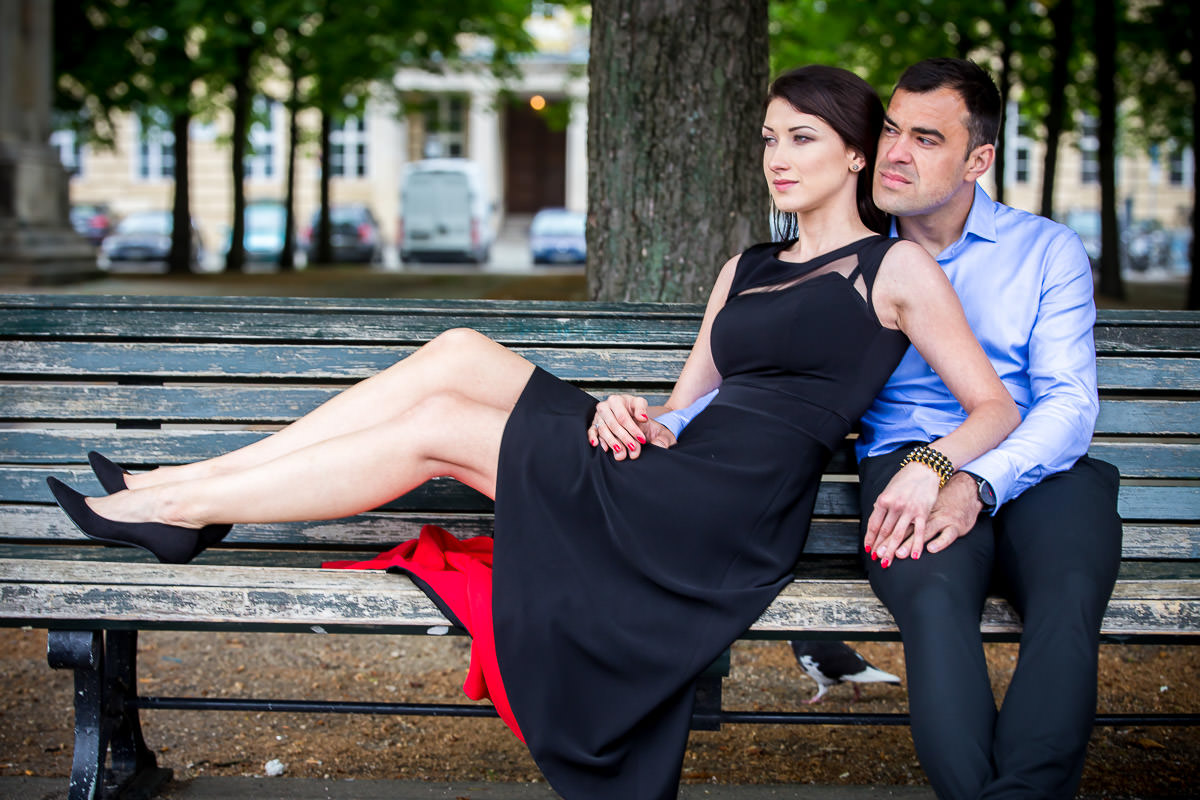 couple in love at the bench in the park in Berlin