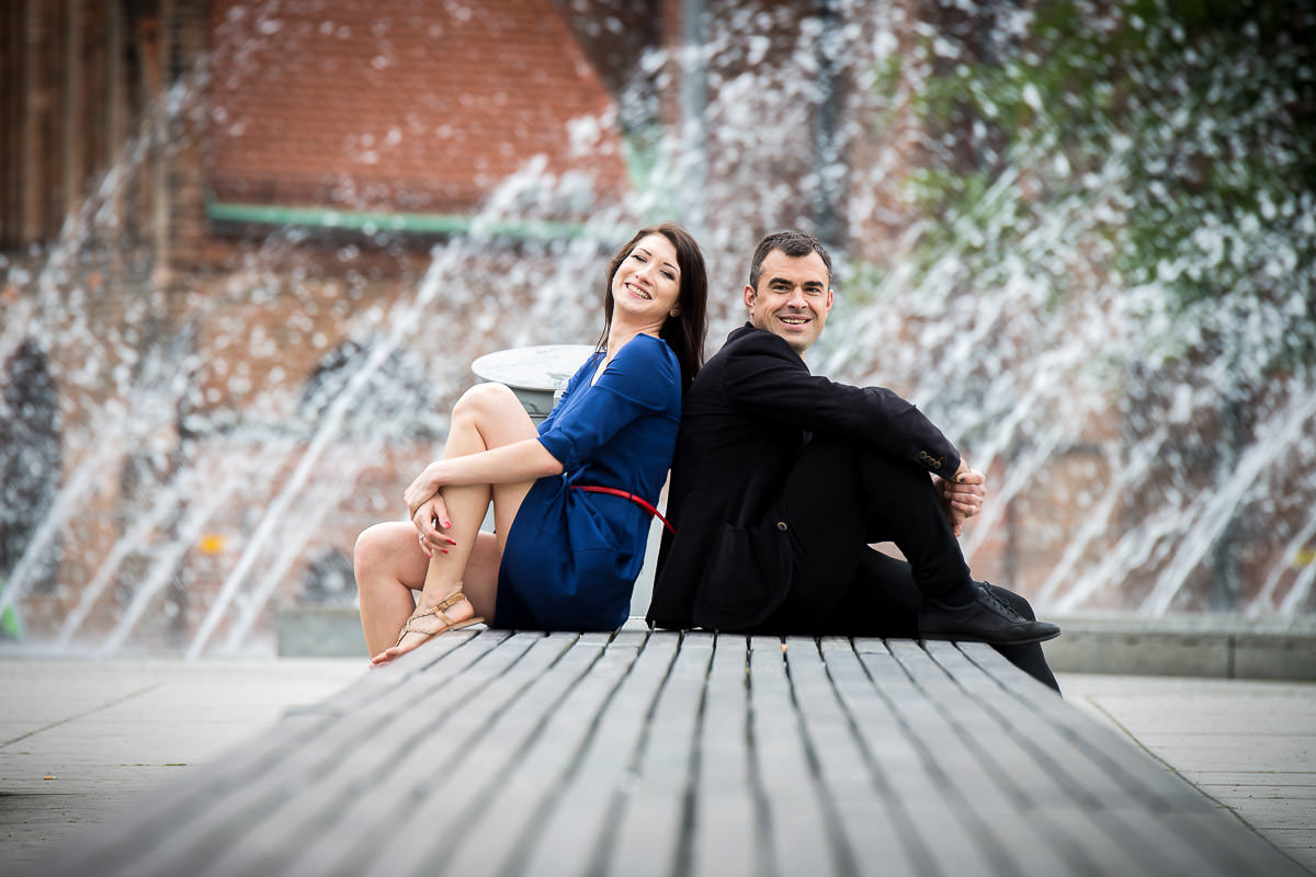 couple having fun at Berlin engagement shoot