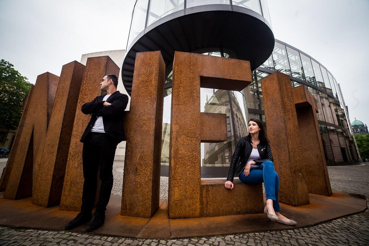 Couple posing in Berlin City Centre