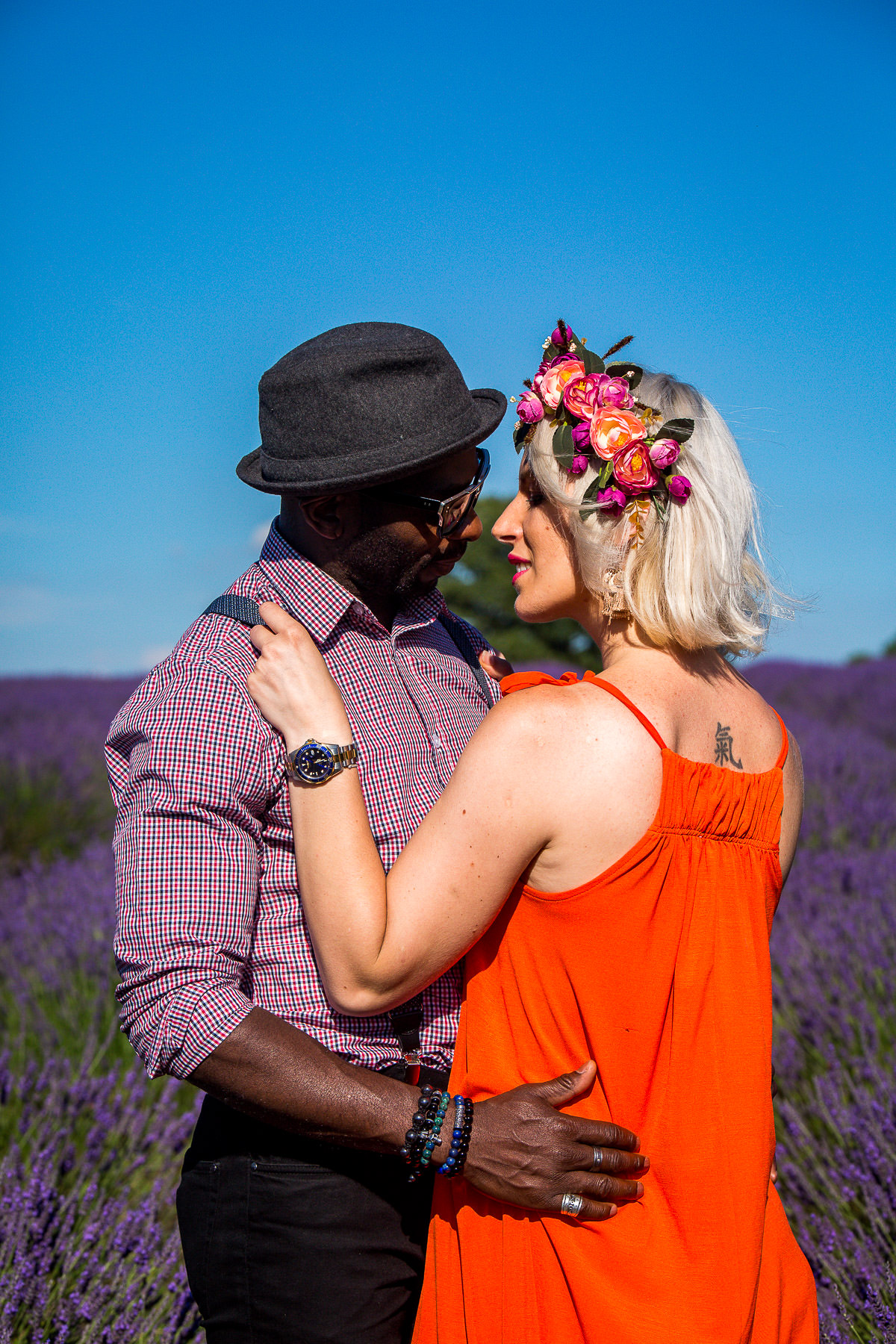 couple at lavender field in surrey