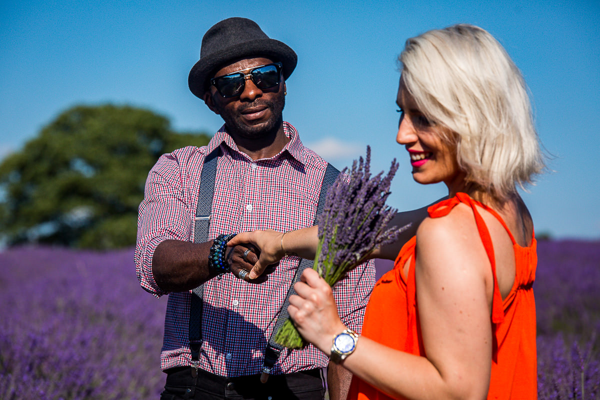 smiles at lavender field in kent