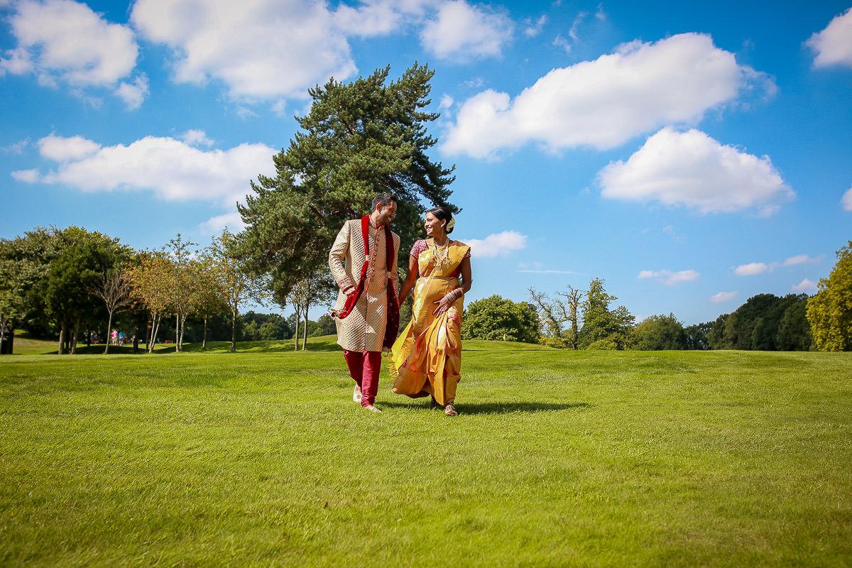 bride and groom at golf course surrey