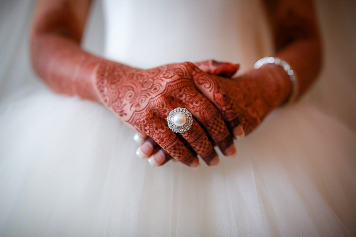wedding ring at the asian bride finger