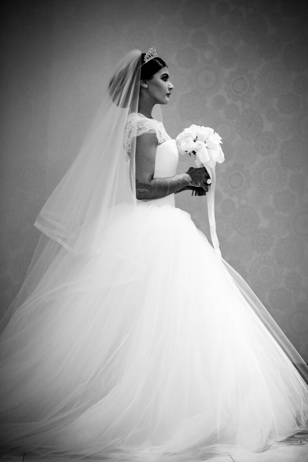 asian bride london in white wedding dress