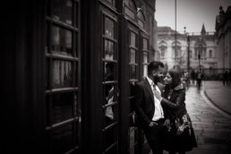 couple in cambridge at engagement shoot