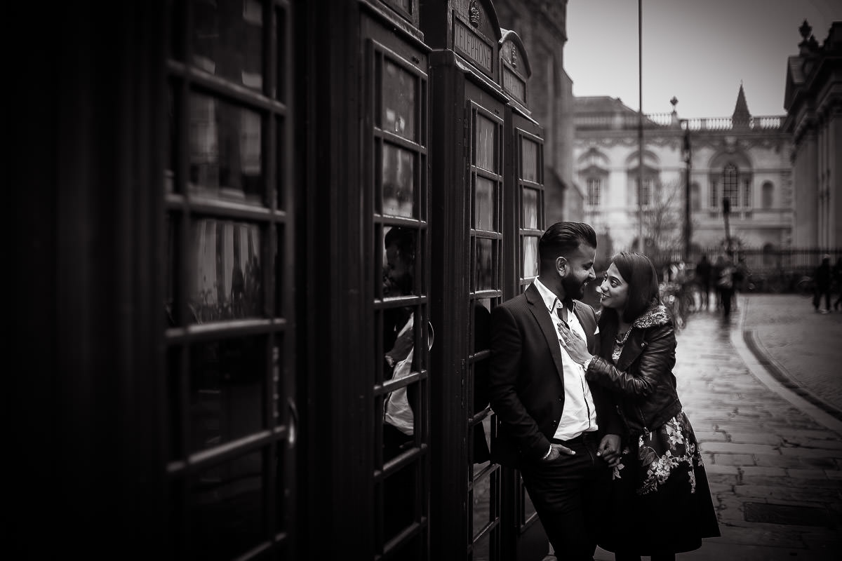 bride and groom at cambridge city centre for an engagement shoot